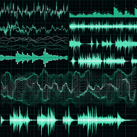 electronic music: Sound waves set. Music background. EPS 10 vector file included