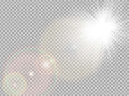 Transparent sunlight special lens flare light effect. Sun flash with rays and spotlight. 矢量图像