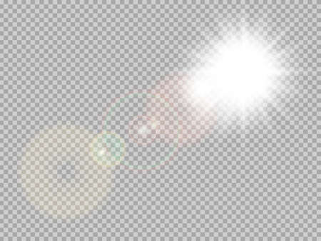 rays: Transparent sunlight special lens flare light effect. Sun flash with rays and spotlight. Illustration