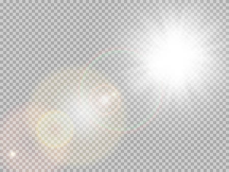 Transparente Sonnenlicht spezielle Lens Flare Lichteffekt. Sonne mit Strahlen und Scheinwerfer blinken. Vektorgrafik