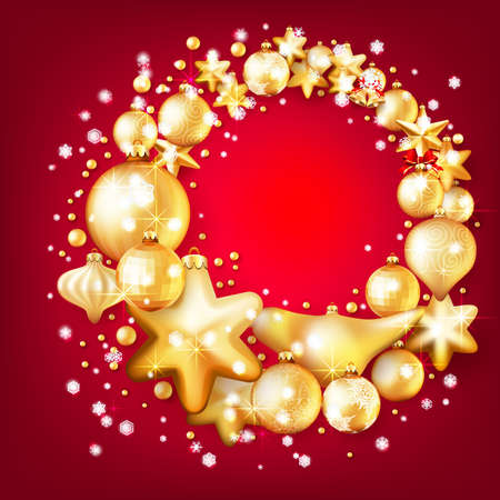 Beautiful red and gold christmas background.