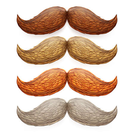 burly: Old fashion isolated mustaches set. EPS 10 vector file included Illustration