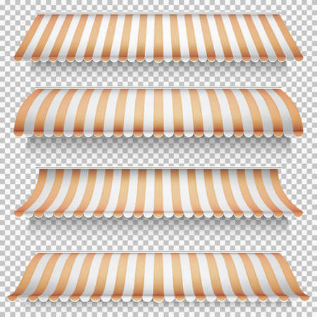 Colored awnings set on transparent background. EPS 10 vector file included