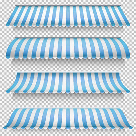 awnings: Colored awnings set on transparent background. EPS 10 vector file included