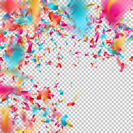 Colorful confetti on transparent background. EPS 10 vector file included