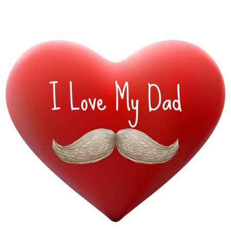 Glücklicher Vatertag, ich liebe meinen Vati, Schriftart mit Herzen. EPS 10 Vektor-Datei enthalten