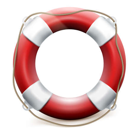 life buoy: Red life buoy on white background. EPS 10 vector file included Illustration