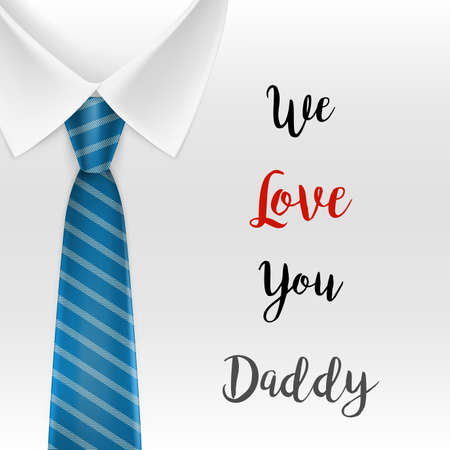 Fathers day Greeting card. We love you daddy text. Illustration