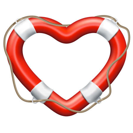 Life buoy in the shape of heart. Valentine s day concept. EPS 10 vector file included Illustration
