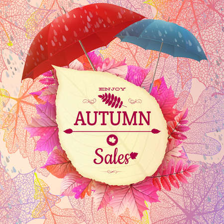 wet leaf: Background on a theme of autumn. Sale. EPS 10 vector file included Illustration