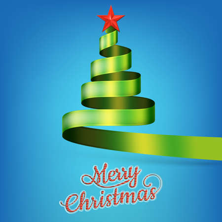 lent: Christmas tree from green ribbon and star. EPS 10 vector file included Illustration