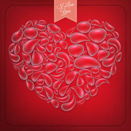 Heart from water drops on red background. EPS 10 vector file included