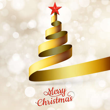 lent: Christmas tree from gold ribbon and star. EPS 10 vector file included Illustration