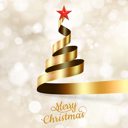 Christmas tree from gold ribbon and star. EPS 10 vector file included Illustration