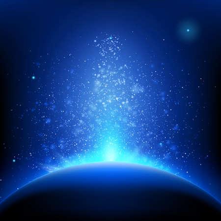 horizonte: Tierra - la salida del sol en el espacio azul profundo.