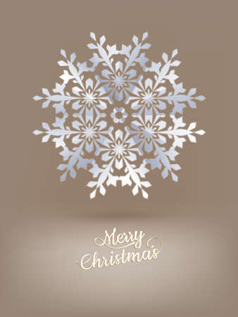 light brown background: White paper christmas snowflake on a light brown background. EPS 10 vector file included Illustration