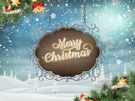 sign road: Christmas vintage Postcard with old Signboard. EPS 10 vector file included Illustration