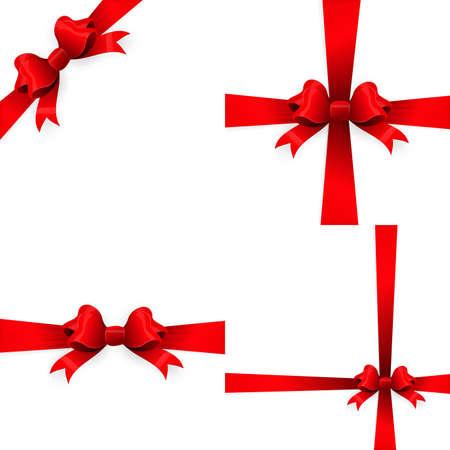 Rotes Band mit Bogen auf einem weißen Hintergrund. Vektordatei ENV 10 eingeschlossen