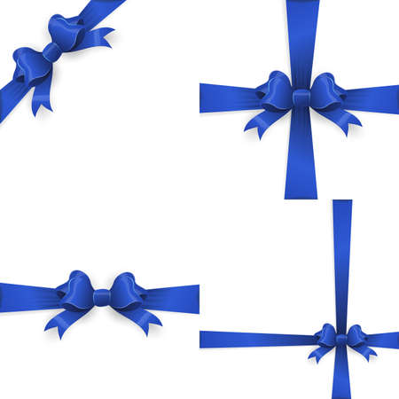 Ribbon with blue bow on a white background. EPS 10 vector file included