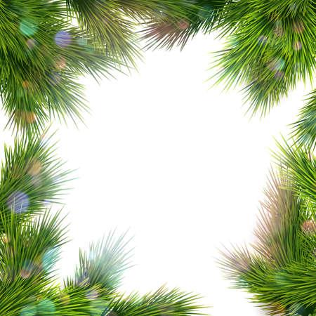 Modello di biglietto di auguri di Natale festivo. Cornice di rami di albero. File vettoriale EPS 10 incluso