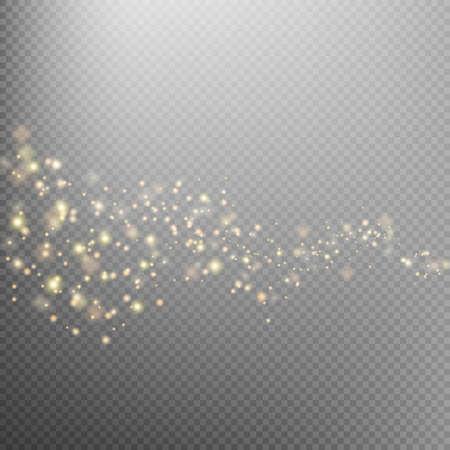 Oro brillante estrella estela de polvo partículas brillantes en el fondo transparente. Espacio de cola de cometa. Ejemplo de la moda del encanto. archivo vectorial EPS 10 incluido