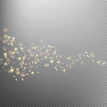 glamor: Gold glittering star dust trail sparkling particles on transparent background. Space comet tail. Glamour fashion illustration. EPS 10 vector file included