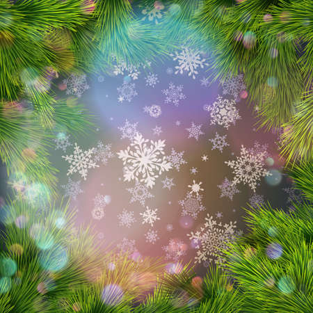 Merry Christmas greeting card, with snow and fir twigs. EPS 10 vector file included