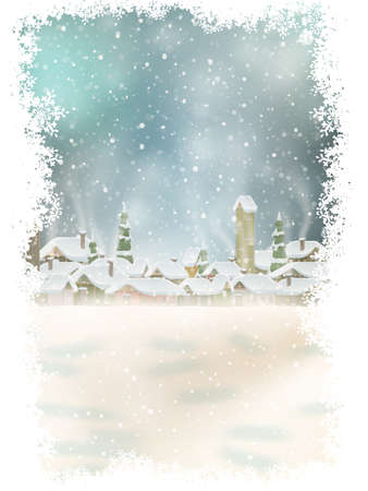 postal card: Christmas landscape with christmas tree. background with moon. Concept for greeting or postal card. EPS 10 vector file included