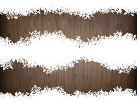 snow background: Brown wood texture with white snow. Christmas background. EPS 10 vector file included Illustration