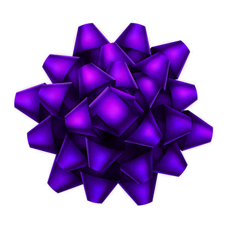 Violet bow top view isolated on white background. EPS 10 vector file included Illustration