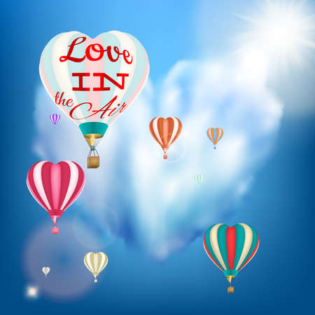 windy day: Hot air balloon in a heart shape. EPS 10 vector file included Illustration