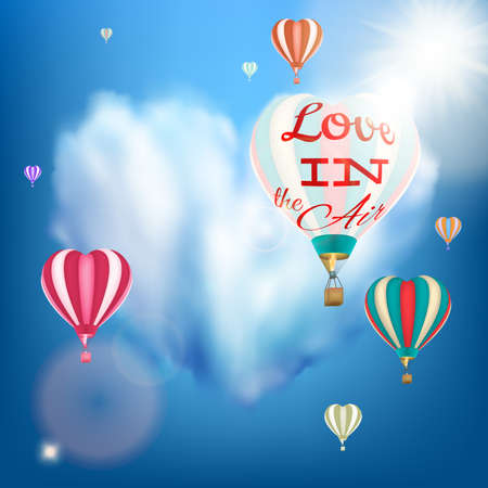 Romantic heart shaped air balloon retro postcard for Saint Valentine s Day. EPS 10 vector file included