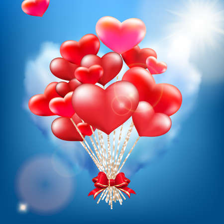 Valentine heart-shaped baloons. EPS 10 vector file included