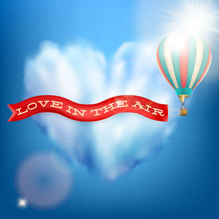 hot couple: Hot air balloon with banner - love In The Air. EPS 10 vector file included