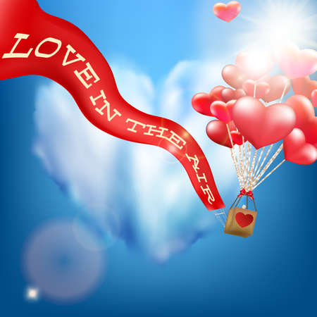 Wedding invitation with balloon. EPS 10 vector file included
