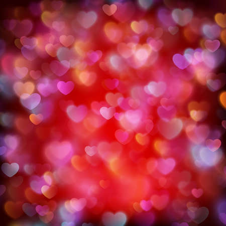 Glittery lights red Valentine s day background from hearts. EPS 10 vector file included