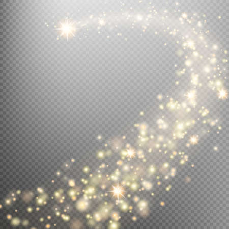 Gold glittering star dust trail sparkling particles on transparent background. Space comet tail. Glamour fashion illustration. EPS 10 vector file included
