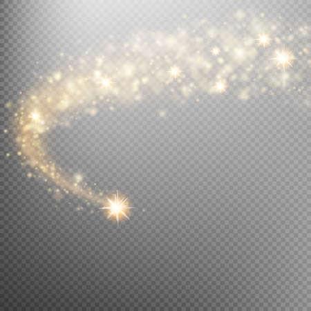 Stella d'oro che cade frizzante. onda scintillante Cosmica. L'oro scintillanti stelle scia di polvere le particelle scintillanti su sfondo trasparente. Spazio coda di cometa. File EPS 10 vettore incluso Archivio Fotografico - 67603926