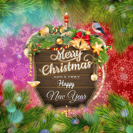 Wooden banner with Christmas Fir-tree branches. EPS 10 vector file included Illustration
