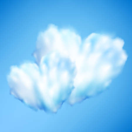 Cloud in form of heart against blue sky. Valentine s day. EPS 10 vector file included