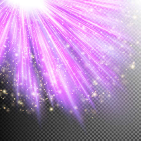 Gold glittering dust with purple effect on transparent background.