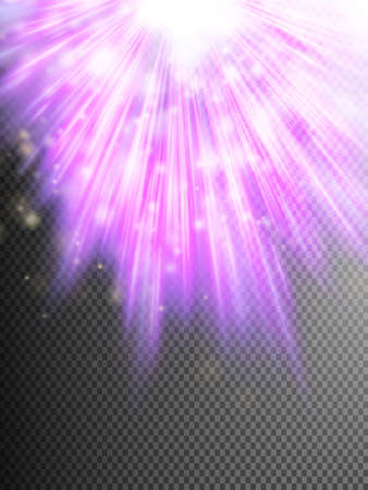 Purple luminous rays.
