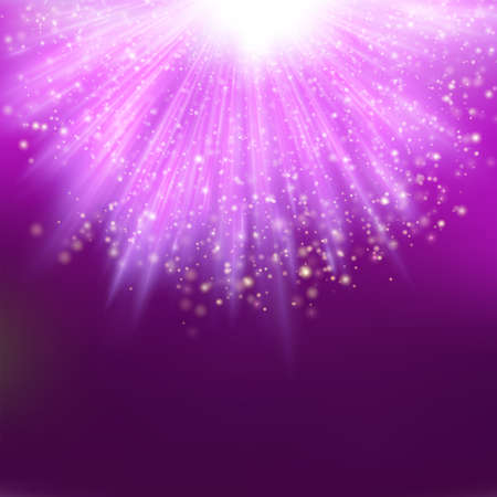 descending: Sparkling light descending on magenta burst.