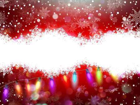 Red christmas card with snowflakes background.