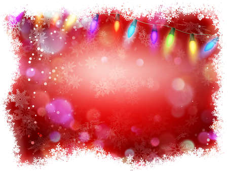 Red background with frame of snowflakes.