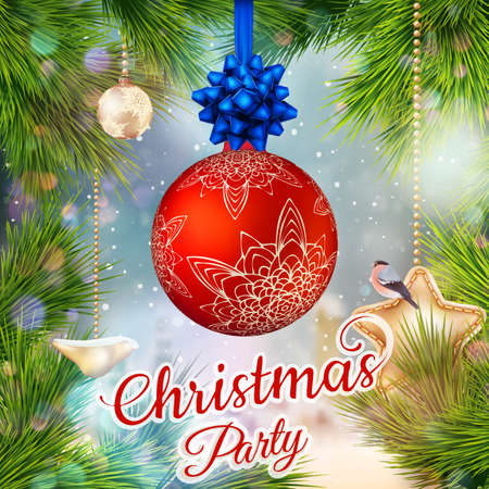 holiday invitation: Holiday Merry Christmas party layout poster template. Christmas Design for your holiday invitation