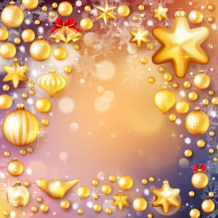 new icon: Christmas Tree decoration on winter background with snow and snowflakes. Golden balls.