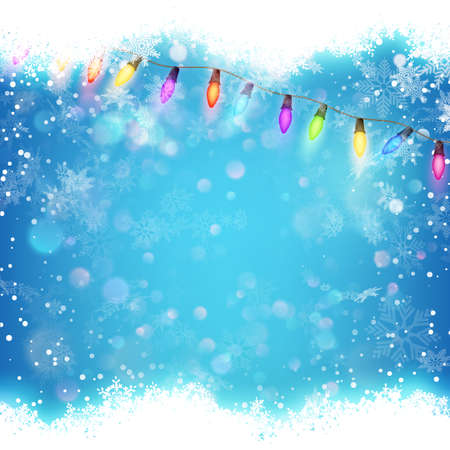 de focus: Blue background with white blurred snowflakes. Illustration