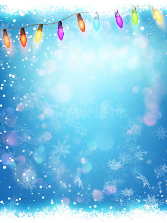 seasons of the year: Happy New Year. Seasons Greetings. Snowflakes ans Light Garlands.