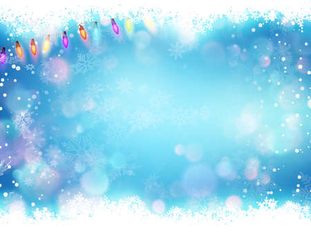 Glowing Lights. Colorful Fairy Lights Background. Christmas Lights Background. Flying snowflakes on a blue background. Illustration
